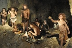 (Copyright: Johannes Krause, Neandertal group by Atelier Daynes, Paris, France. In: Museum of the Krapina Neanderthals, Krapina, Croatia. Project and realization of the Museum: Zeljko Kovacic and Jakov Radovcic.)